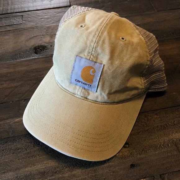 Vintage Style Worn Carhartt Tan Hat